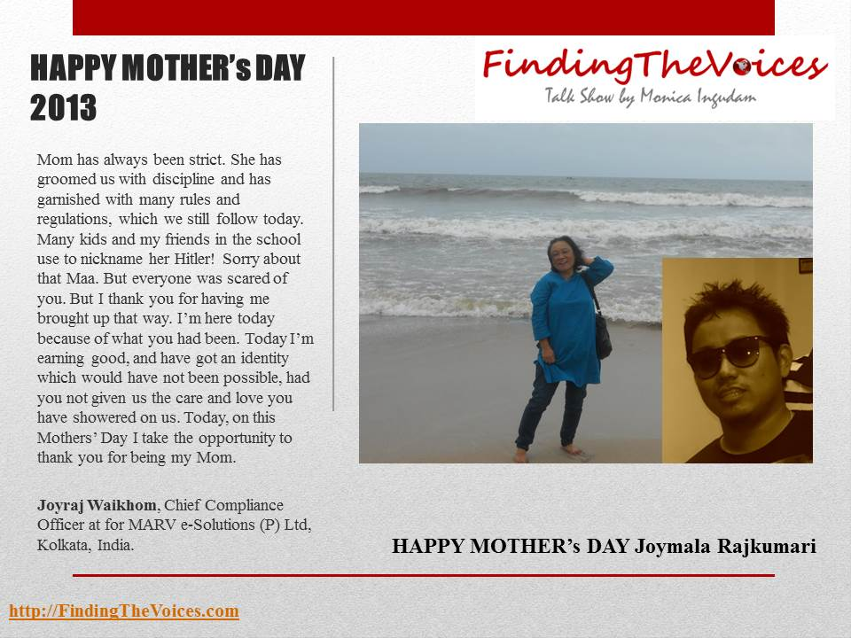 FindingTheVoices Mother's Day 2013 Joyraj Waikhom