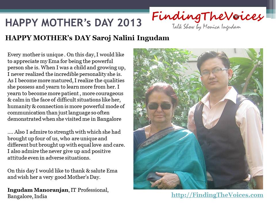 FindingTheVoices Mother's Day 2013 Manoranjan