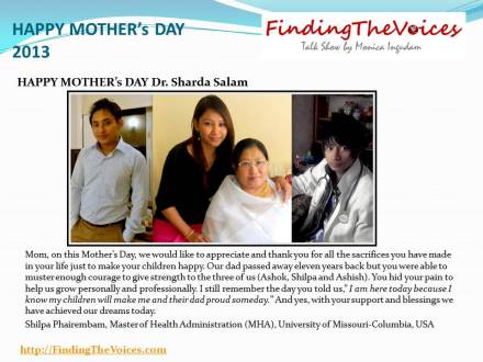 FindingTheVoices Mother's Day 2013 ShilpaPhairembami