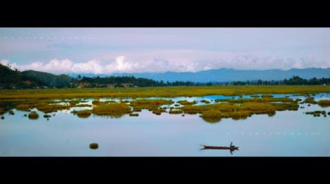 A fisherman rows back to check on his net at Loktak Lake. Hill ranges at the backdrop covered with ever changing shades of white and dark clouds, a vast water body covered with lotus plants and floating vegetation is a visual delight and a must see for all..