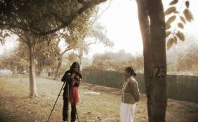 "Behind the scenes for Findingthevoices : We thought Nehru Park at #Delhi will be perfect location and we even found a perfect spot. As we are ready for ""Action"", we were told that shooting inside the park is not allowed. Lesson#2 learnt. We ended up shooting just outside near the entrance of Nehru Park with the 2 beautiful young poetess from #Manipur Chaoba Phuritshabam and Haripriya Soibam."