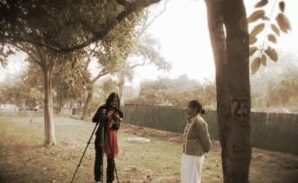 """Behind the scenes for Findingthevoices : We thought Nehru Park at #Delhi will be perfect location and we even found a perfect spot. As we are ready for """"Action"""", we were told that shooting inside the park is not allowed. Lesson#2 learnt. We ended up shooting just outside near the entrance of Nehru Park with the 2 beautiful young poetess from #Manipur Chaoba Phuritshabam and Haripriya Soibam."""