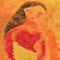 Nupigi Thamoi, a woman's heart, an acrylic painting